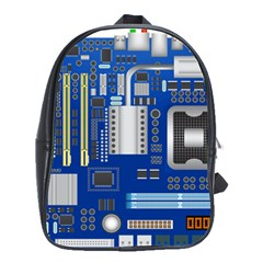 Classic Blue Computer Mainboard School Bags(large)  by BangZart