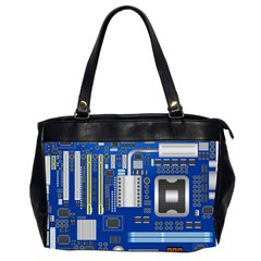 Classic Blue Computer Mainboard Office Handbags (2 Sides)  by BangZart