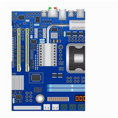 Classic Blue Computer Mainboard Small Garden Flag (two Sides)