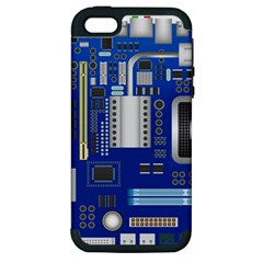 Classic Blue Computer Mainboard Apple Iphone 5 Hardshell Case (pc+silicone) by BangZart