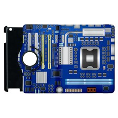 Classic Blue Computer Mainboard Apple Ipad 3/4 Flip 360 Case by BangZart