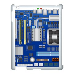 Classic Blue Computer Mainboard Apple Ipad 3/4 Case (white)