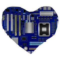 Classic Blue Computer Mainboard Large 19  Premium Heart Shape Cushions by BangZart
