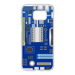 Classic Blue Computer Mainboard Samsung Galaxy S7 Edge White Seamless Case by BangZart