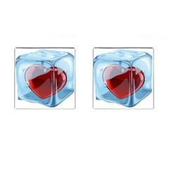 Heart In Ice Cube Cufflinks (square) by BangZart