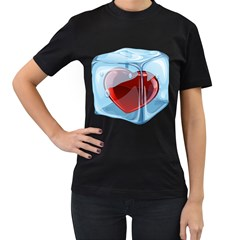 Heart In Ice Cube Women s T Shirt (black) by BangZart