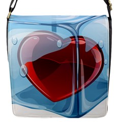 Heart In Ice Cube Flap Messenger Bag (s) by BangZart
