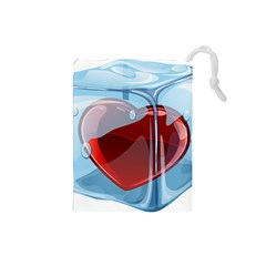 Heart In Ice Cube Drawstring Pouches (small)