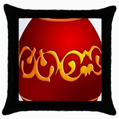 Easter Decorative Red Egg Throw Pillow Case (black) by BangZart