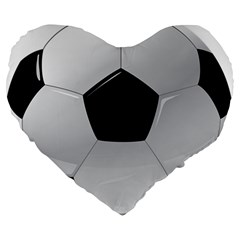 Soccer Ball Large 19  Premium Heart Shape Cushions by BangZart