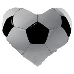 Soccer Ball Large 19  Premium Flano Heart Shape Cushions by BangZart