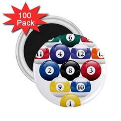Racked Billiard Pool Balls 2 25  Magnets (100 Pack)  by BangZart