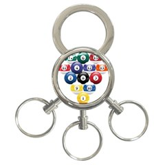 Racked Billiard Pool Balls 3 Ring Key Chains by BangZart