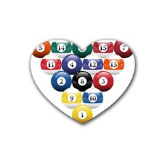 Racked Billiard Pool Balls Heart Coaster (4 Pack)  by BangZart