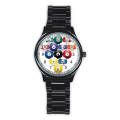 Racked Billiard Pool Balls Stainless Steel Round Watch by BangZart