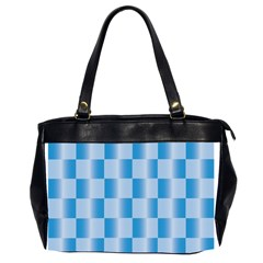 Blue Plaided Pattern Office Handbags (2 Sides)  by paulaoliveiradesign
