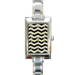 Chevron3 Black Marble & Beige Linen Rectangle Italian Charm Watch by trendistuff