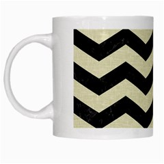 Chevron3 Black Marble & Beige Linen White Mugs by trendistuff