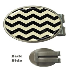 Chevron3 Black Marble & Beige Linen Money Clips (oval)  by trendistuff