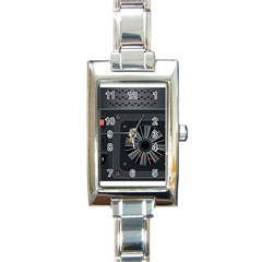 Special Black Power Supply Computer Rectangle Italian Charm Watch by BangZart