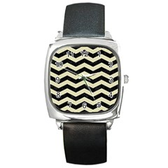 Chevron3 Black Marble & Beige Linen Square Metal Watch by trendistuff