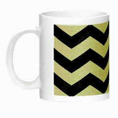 Chevron3 Black Marble & Beige Linen Night Luminous Mugs by trendistuff