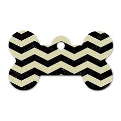 Chevron3 Black Marble & Beige Linen Dog Tag Bone (two Sides) by trendistuff