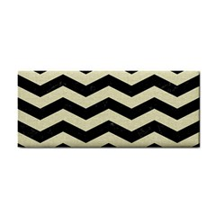 Chevron3 Black Marble & Beige Linen Cosmetic Storage Cases by trendistuff