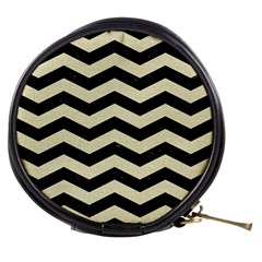 Chevron3 Black Marble & Beige Linen Mini Makeup Bags by trendistuff