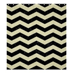 Chevron3 Black Marble & Beige Linen Shower Curtain 66  X 72  (large)  by trendistuff