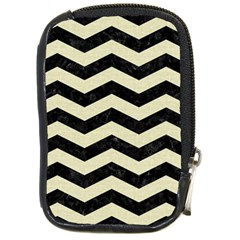Chevron3 Black Marble & Beige Linen Compact Camera Cases by trendistuff