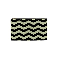 Chevron3 Black Marble & Beige Linen Cosmetic Bag (small)  by trendistuff