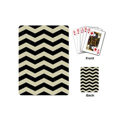 Chevron3 Black Marble & Beige Linen Playing Cards (mini)  by trendistuff