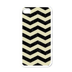 Chevron3 Black Marble & Beige Linen Apple Iphone 4 Case (white) by trendistuff