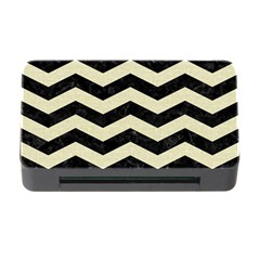 Chevron3 Black Marble & Beige Linen Memory Card Reader With Cf by trendistuff
