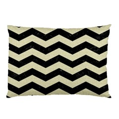 Chevron3 Black Marble & Beige Linen Pillow Case (two Sides) by trendistuff
