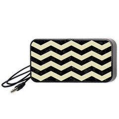 Chevron3 Black Marble & Beige Linen Portable Speaker (black) by trendistuff