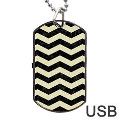 Chevron3 Black Marble & Beige Linen Dog Tag Usb Flash (two Sides) by trendistuff