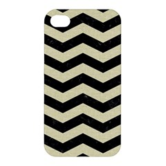 Chevron3 Black Marble & Beige Linen Apple Iphone 4/4s Hardshell Case by trendistuff
