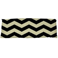 Chevron3 Black Marble & Beige Linen Body Pillow Case (dakimakura) by trendistuff
