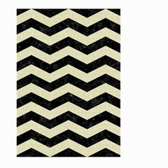 Chevron3 Black Marble & Beige Linen Large Garden Flag (two Sides) by trendistuff