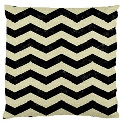 Chevron3 Black Marble & Beige Linen Large Cushion Case (one Side) by trendistuff