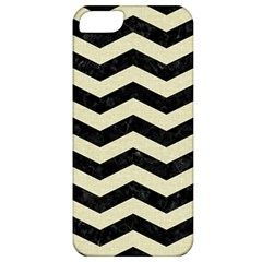 Chevron3 Black Marble & Beige Linen Apple Iphone 5 Classic Hardshell Case by trendistuff