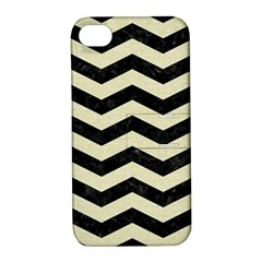 Chevron3 Black Marble & Beige Linen Apple Iphone 4/4s Hardshell Case With Stand by trendistuff