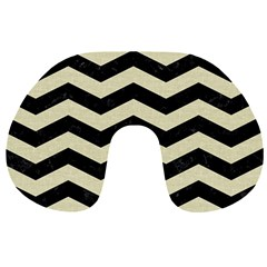 Chevron3 Black Marble & Beige Linen Travel Neck Pillows by trendistuff