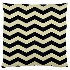 Chevron3 Black Marble & Beige Linen Large Flano Cushion Case (two Sides) by trendistuff