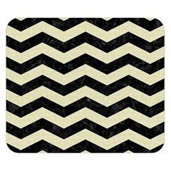 Chevron3 Black Marble & Beige Linen Double Sided Flano Blanket (small)  by trendistuff