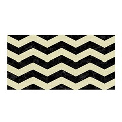 Chevron3 Black Marble & Beige Linen Satin Wrap by trendistuff