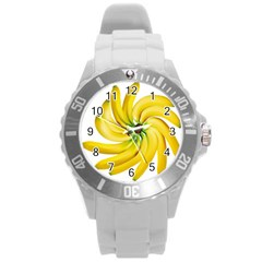 Bananas Decoration Round Plastic Sport Watch (l) by BangZart