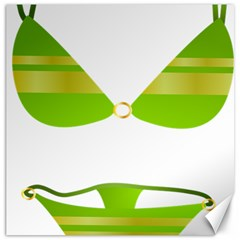 Green Swimsuit Canvas 12  X 12